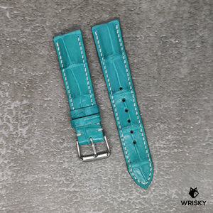 #121 20/18mm Turquoise Crocodile Belly Strap with White Stitch