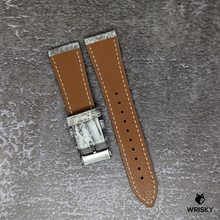 Load image into Gallery viewer, #182 22/18mm White Himalayan Crocodile Belly Leather Watch Strap