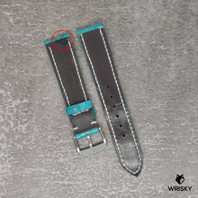 Load image into Gallery viewer, #121 20/18mm Turquoise Crocodile Belly Strap with White Stitch