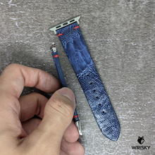 Load image into Gallery viewer, #177 (Apple Watch) Deep Sea Blue Ostrich Leg With Red Vintage Stitch Leather Watch Strap