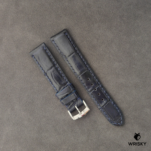 Load image into Gallery viewer, #27 20/18mm Dark Blue Crocodile Belly with Blue stitch Leather Strap