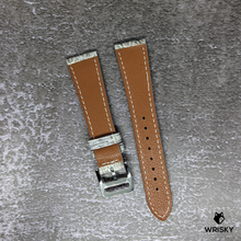 Load image into Gallery viewer, #243 20/16mm White Himalayan Crocodile Leather Watch Strap With Cream Stitches