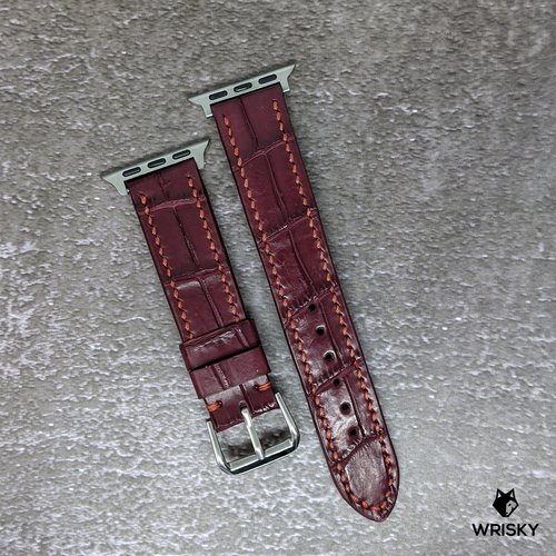#274 (Suitable for Apple Watch) Burgundy Crocodile Belly Leather Watch Strap with Red Stitches