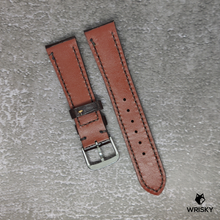 Load image into Gallery viewer, #99 21/18mm Brown Crocodile Belly Leather Strap with Brown Stitch
