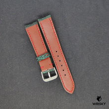 Load image into Gallery viewer, #80 Dark Green Nuback Ostrich Leg Leather Watch Strap With Red Stitch