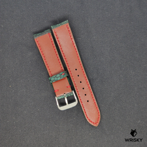 #80 Dark Green Nuback Ostrich Leg Leather Watch Strap With Red Stitch