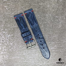 Load image into Gallery viewer, #149 20/18mm Deep Sea Blue Ostrich Leg Strap with Red Vintage Stitch