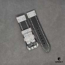 Load image into Gallery viewer, # 2 24/24mm Grey Nile Crocodile Hand Made Leather Strap with Black Panerai Buckle