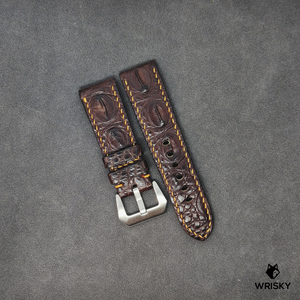 #30 24/22mm Brown Hornback Crocodile Leather with Gold contrast Stitch Watch Strap in Panerai Style Buckle