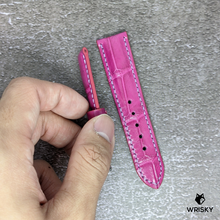 Load image into Gallery viewer, #135 *Custom Made for Customer* 20/18mm Pink Crocodile Belly with Mauve Stitch leather watch strap