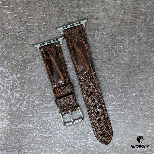 #278 (Suitable for Apple Watch) Dark Brown Ostrich Leg Leather Watch Strap with Brown Stitches