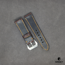 Load image into Gallery viewer, #30 24/22mm Brown Hornback Crocodile Leather with Gold contrast Stitch Watch Strap in Panerai Style Buckle