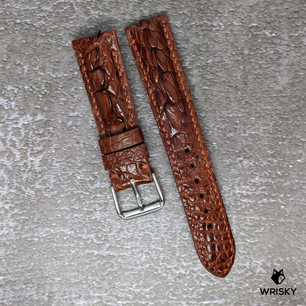 #133 20/18mm Dark Brown Hornback Crocodile with Brown stitch Leather Watch Strap
