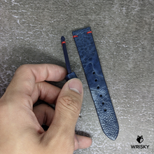 Load image into Gallery viewer, #216 20/18mm Deep Sea Blue Ostrich Leg Leather Watch Strap with Red Vintage Stitch
