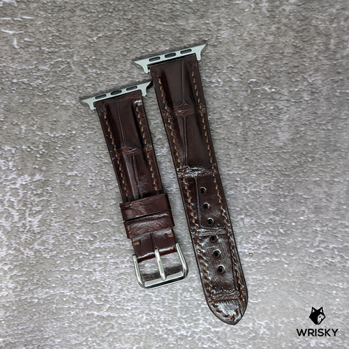 #279 (Suitable for Apple Watch) Dark Brown Crocodile Belly Leather Watch Strap with Dark Brown Stitches