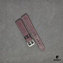 Load image into Gallery viewer, #35 19mm/16mm Umber Brown Ostrich Leg Leather Watch Strap With Brown Stitch