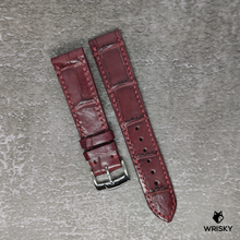 Load image into Gallery viewer, #93 20/18mm Blood Red Crocodile Belly Watch Strap With Red Stitch
