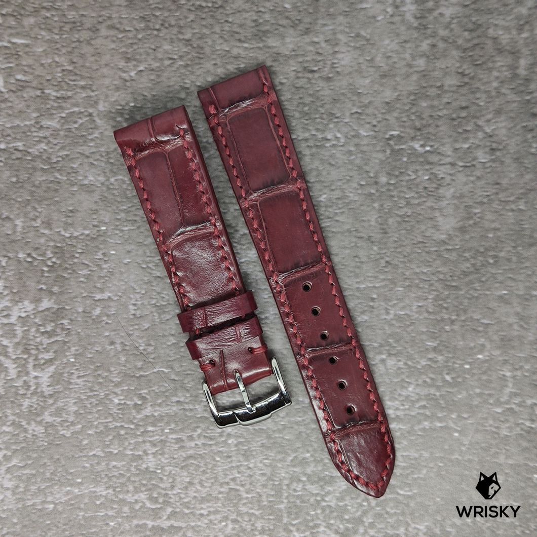#93 20/18mm Blood Red Crocodile Belly Watch Strap With Red Stitch