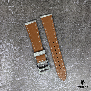 #251 20/16mm White Himalayan Crocodile Leather Watch Strap With Cream Stitches