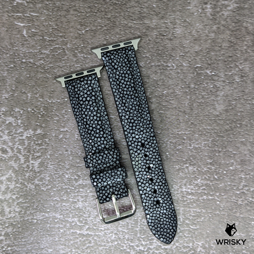 #281 (Suitable for Apple Watch) Black Stingray Leather Watch Strap