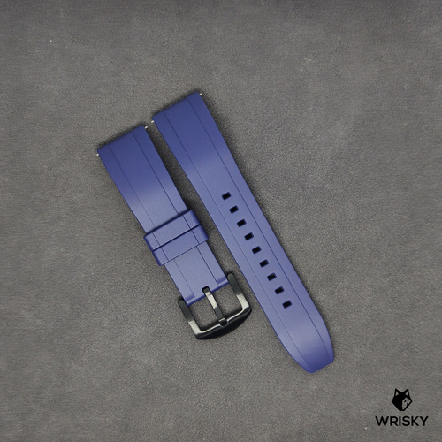 Premium Basic Blue Rubber Strap with Quick Release Springbar (Black PVD Buckle)