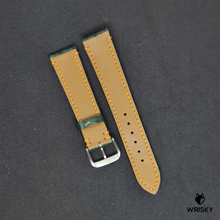 Load image into Gallery viewer, #76 20/18mm Emerald Green Hornback Crocodile Leather Watch Strap with Yellow Stitch