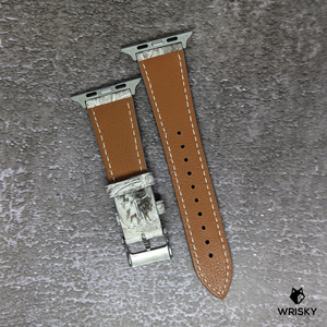#188 (Apple Watch) Himalayan Crocodile Leather with Cream Stitch