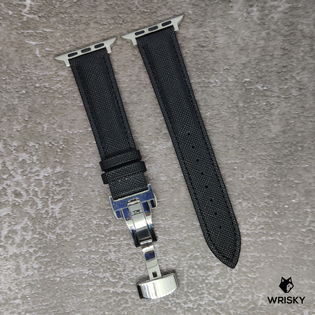(Apple Watch) Genuine Saffiano Leather in Black