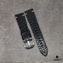Load image into Gallery viewer, #95 22/20mm Black Nile Crocodile Belly Leather Strap with Cream Vintage Stitch