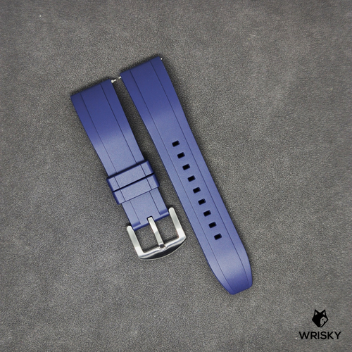 Premium Basic Blue Rubber Strap with Quick Release Springbar (Silver Brushed Buckle)