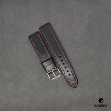 Load image into Gallery viewer, #98 20/18mm Black Vegetable Tan Leather Strap with Red Contrast Stitch
