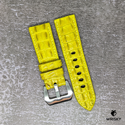 #129 24mm/22mm Yellow Double Horned Back Crocodile Leather Watch Strap