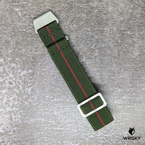 WRISKY Elastic Military Strap (Green -Red Stripe)