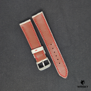 #74 20/18mm White Hornback Crocodile Leather Watch Strap with Red Stitch