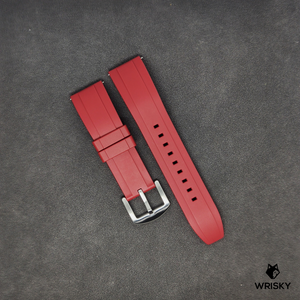 Premium Basic Red Rubber Strap with Quick Release Springbar (Silver Brushed Buckle)