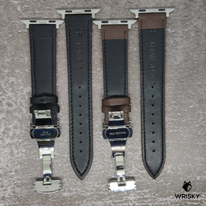 (Apple Watch) Genuine Saffiano Leather in Brown