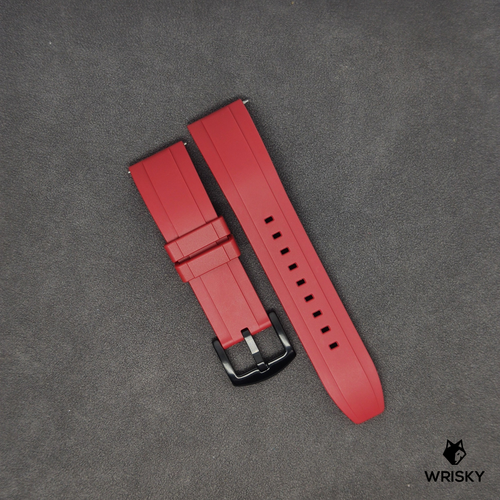 Premium Basic Red Rubber Strap with Quick Release Springbar (Black PVD Buckle)