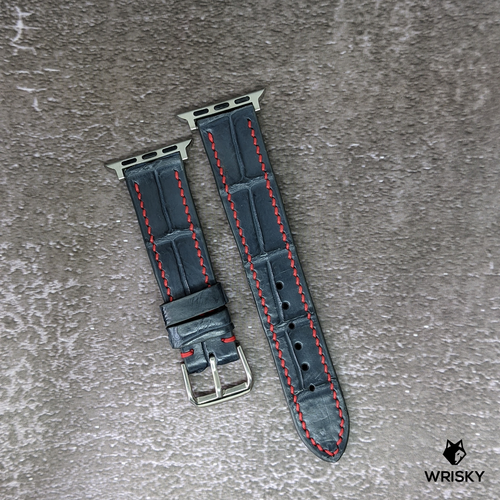 #283 (Suitable for Apple Watch) Gunmetal Grey Crocodile Leather Watch Strap with Red Stitches