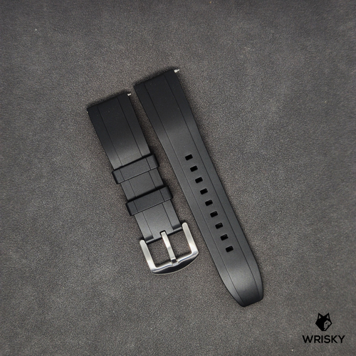 Premium Basic Black Rubber Strap with Quick Release Springbar (Silver Brushed Buckle)