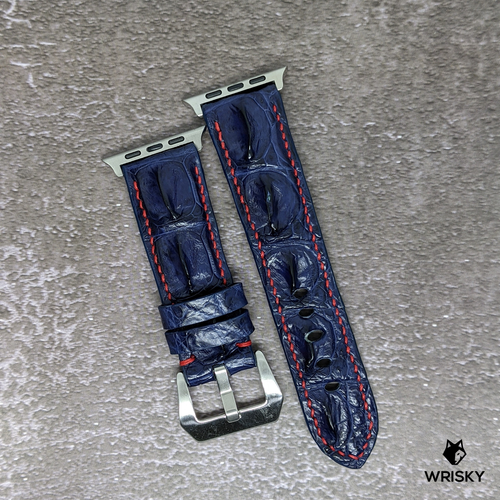 #230 (Suitable for Apple Watch) Deep Sea Blue Hornback Crocodile Leather Watch Strap with Red Stitch