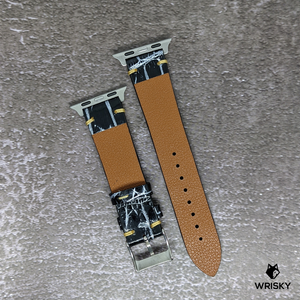#256 (Suitable for Apple Watch) Black Crocodile Belly Leather Watch Strap with Silver Rub-off and Cream Vintage Stitch