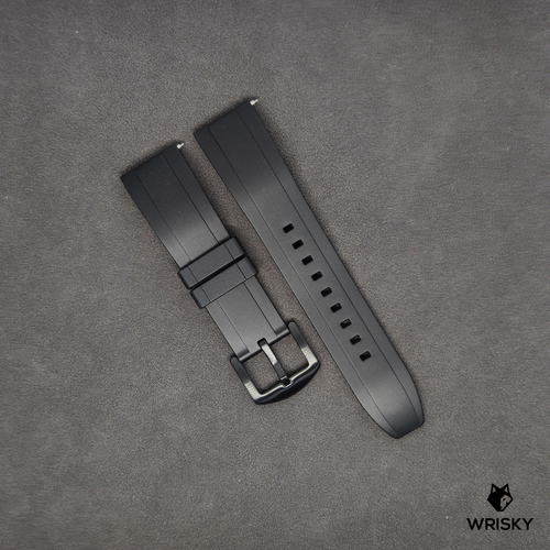 Premium Basic Black Rubber Strap with Quick Release Springbar (Black PVD Buckle)