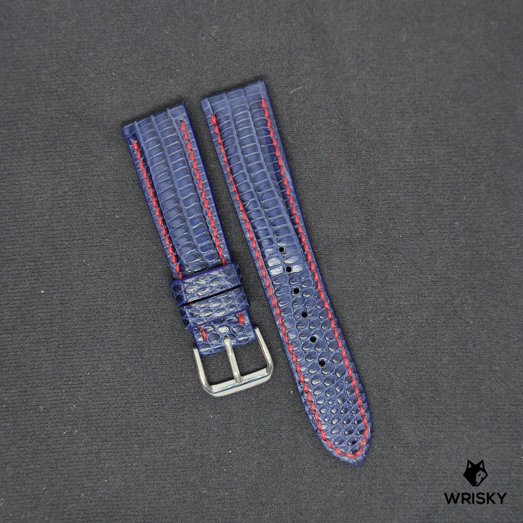 #83 20/18mm Blue Lizard Strap with Red Stitch