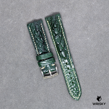 Load image into Gallery viewer, #202 22/20mm Dark Green Hornback Crocodile Leather Strap with Cream Stitches