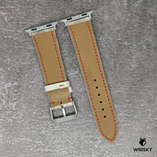 Load image into Gallery viewer, #91 (Apple Watch) White Python Leather Strap with White stitch