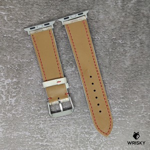 #91 (Apple Watch) White Python Leather Strap with White stitch