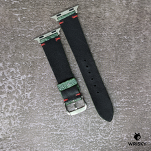 Load image into Gallery viewer, #146 (Apple Watch) Green Nuback Washed Out Ostrich Leg with Red Vintage Stitch