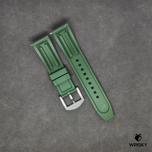 Premium Basic Green Rubber Strap with Quick Release Springbar (Silver Brushed Buckle)