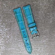 Load image into Gallery viewer, #132 20/16mm Turquoise Crocodile Belly Strap with Yellow Stitch