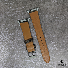 Load image into Gallery viewer, #258 (Suitable for Apple Watch) Brown Lizard Leather Watch Strap with White Stitch